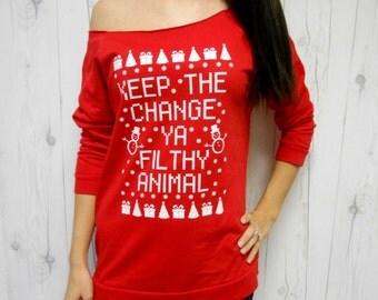Funny Christmas Sweater, Cute Christmas Sweatshirt, Lightweight Sweatshirt, Ya Filthy Animal Womens Shirt, Home Alone Shirt, Ugly Christmas