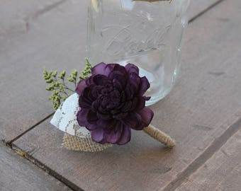 Plum Burlap Leaf Boutonniere, Plum Sola Wood Boutonniere, Plum Boutonniere, Plum Button Hole, Plum Sola Wood Flower, Purple Sola Flower
