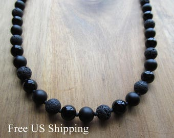 Mens Necklace, Onyx, Matte Onyx and Lava, Mens Beaded Necklace, 8mm, Men's Necklace, Gift Ideas for Men, Long Necklace, Mens Jewelry