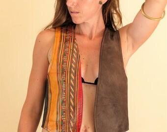 Ethnic jacket, leather Tuareg motif, unique, natural pigments