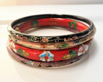 Chinese Cloisonne Bangles, Set of 4, Chinese Bracelet, Set of Bangles, Colorful Bangles, Enamel Bracelet, Cloisonne, bracelet set, bangles