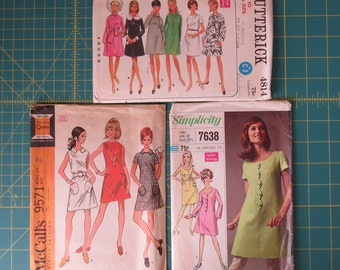 Ladies Casual Dress Patterns, Sewing Patterns, Retro Mod , Butterick 4814, McCall's 9571, Simplicity 7638 - Misses Size 10 Vintage 1960's
