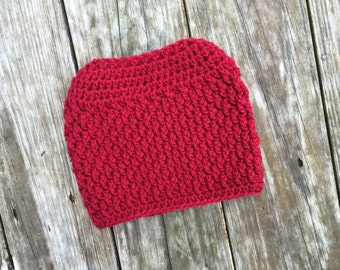 Ready To Ship Messy Bun Textured Cranberry Messy Bun Crochet Hat Beanie Women's Crochet Hat Winter Accessories Gifts For Her
