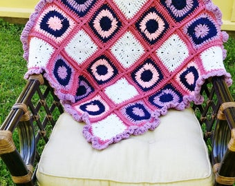 Granny Square Blanket - Pink, Purple, Navy Blue