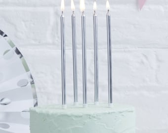 Tall Silver  Birthday Candles I 24 Pack I Silver Candles I Metallic Candles I Silver Celebration Candles