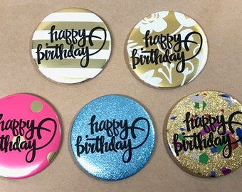 Gold Foil Happy Birthday Button or Magnet