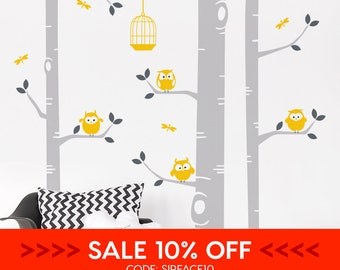 SALE • Birch Tree And Owls Wall Sticker - Nursery Wall Decal - Dragonflies Birdcage Wall Sticker - Nursery Tree Wall Decal