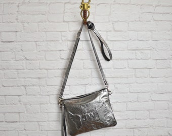 Medium Metallic Gunmetal Angel Wing Monogram Leather crossbody clutch, Leather Pouch, Leather carryall, xbody, pewter