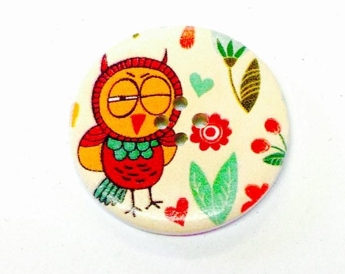 1 x 40mm Winking Owl button