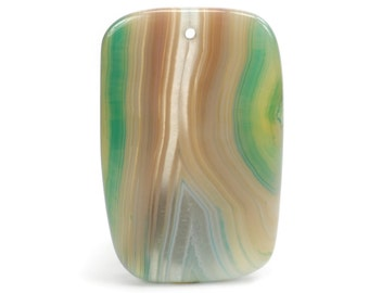 Brown and Aqua Green Onyx Agate Pendant, Rectangle Gemstone Focal Bead G1050