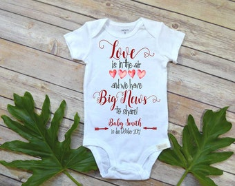 Pregnancy Reveal shirt, Love is in the Air, Baby Announcement, Baby Reveal shirt, Pregnancy Announcement to Grandparents, Pregnancy photo