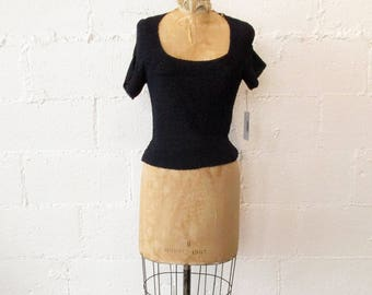1940s Navy Deep Front Blouse // 40s Navy Knit Blouse // Vintage 1940s Navy Scooped Neck Top