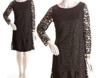 1960s Sheer Black Tiered Lace Long Sleeve Dress - M