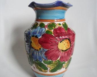 Large italian handpainted pottery vase,vase with floral pattern,italian Vintage pottery