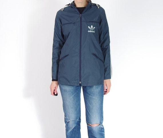 SALE 40% OFF - 80s Adidas Oldschool Windbreaker / Hidden Hoodie Nylon Jacket / Size M
