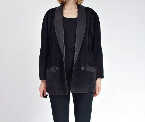 SALE - 80s Tuxedo Style Black Suede Leather Women's Jacket / Size 38 (M)