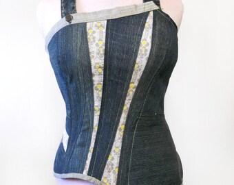 Bustier/top bretelle jean et coton à motifs jaune original T40/42 Cocotte