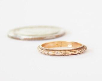 Antique Baby Christening Baptism Ring - 10K Gold - Fine Detail