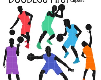 Basketball Players Silhouettes DIgital Clip Art for Scrapbooking Card Making Cupcake Toppers Paper Crafts