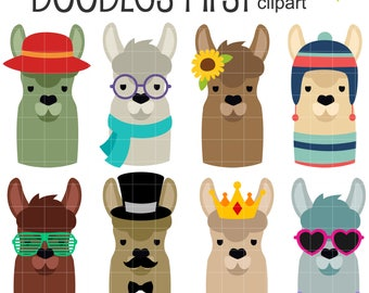Llama Heads Clip Art for Scrapbooking Card Making Cupcake Toppers Paper Crafts