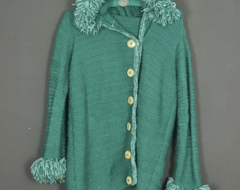 Vintage 70s jumper gilet turquoise with hood hand knitted