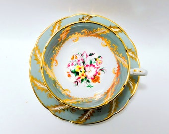 Paragon Wide Mouth Teacup Hand Painted Green Gold Flower Fine Bone China