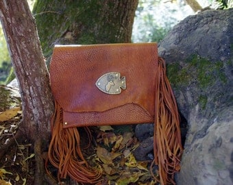SALE - Large, Hand-Dyed Tan Leather Riveted Envelope Clutch with Brass Deer Accent and Long Fringe - One Of A Kind