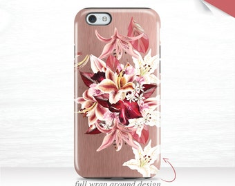 iPhone 7 Case Pink Flowers iPhone SE Case iPhone 6 Plus Case Floral iPhone 6s Lillies iPhone 7 Plus Case Galaxy S7 Case iPhone 5 case 16b