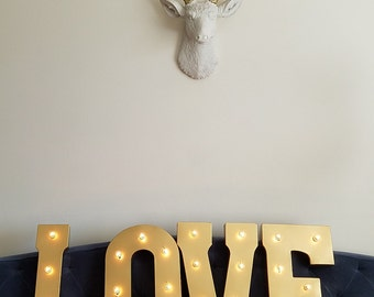 LOVE Gold Metal Light Up Letter Lights Marquee Wedding Sign