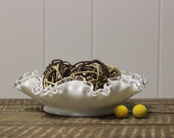 Fenton Silver Crest Milk Glass Ruffled Edge Bowl