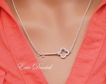 Sideways Key Necklace, Available in Sterling Silver, Rose or Yellow Gold, Key Necklace, Sideways Necklace, Rose Gold Key, Sideways Key