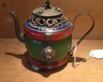 Chinese handwork green & Red jade bracelet inlay tibet-silver dragon teapot free shiping