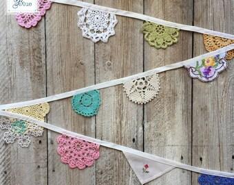 Multicoloured Crochet Doily Bunting - Mini Colourful Doily Garland - Colourfull Wedding Decor - Childrens Nursery (Spring Flowers) - 2 m