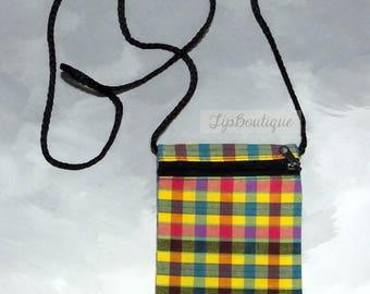 Small Mini Travel Bag Passport Money Cell Phone Neck Pouch Cross body Sling Crossbody Zipper Plaid Cotton Fabric Ps10