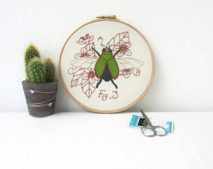 Jewel beetle hand embroidery hoop art, handmade in the UK