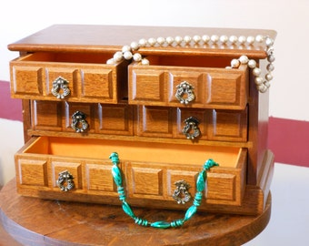 Vintage Wooden 4-Drawer Musical Jewelry Chest