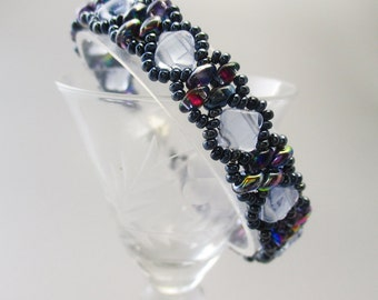 Bracelet, Blue Beaded Victorian Style with Magnetic Clasp