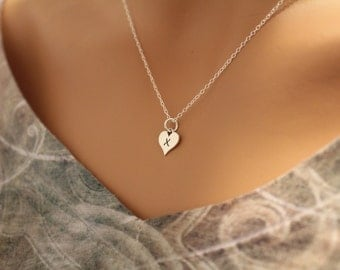 Sterling Silver X Letter Heart Necklace, Silver Tiny Stamped X Initial Heart Necklace, Stamped X Letter Charm Necklace, X Initial Necklace