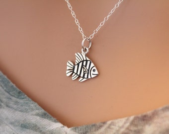 Sterling Silver Tropical Fish Charm Necklace, Tropical Fish Necklace, Tropical Fish Charm Necklace, Tropical Fish Pendant Necklace