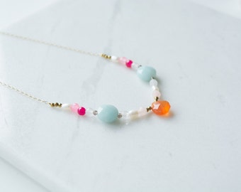 Gold gemstone necklace with carnelian, amazonite, agate, jade, pearls