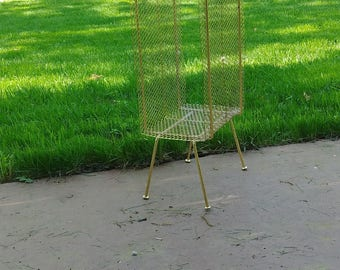 Mid Century Gold Brass Wire & Mesh Punched Metal Record/Magazine/Telephone Side Table