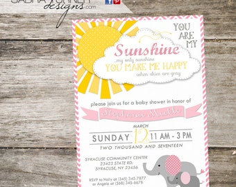 Elephant Baby Shower • You Are My Sunshine Baby Shower • You are My Sunshine Shower Invitation • Elephant You Are My Sunshine Invitation