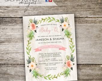 Rustic Baby-Q Baby Shower Invitation • Baby Shower BBQ Invitation • Watercolor Co-Ed Baby Shower Invitation • Baby-Q Invitation