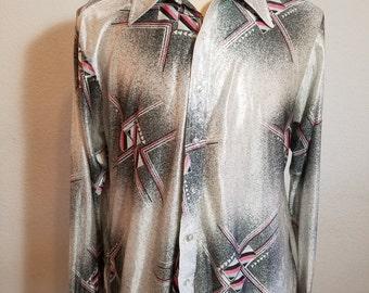 FREE  SHIPPING  1970 Men Abstract Nylon Shirt
