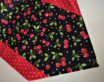 """Cherries Table Runner, Handmade Cherry Table Runner, Red Black Table Topper, 42"""" Cotton Cherry Table Runner, Red Cherries Table Decor"""