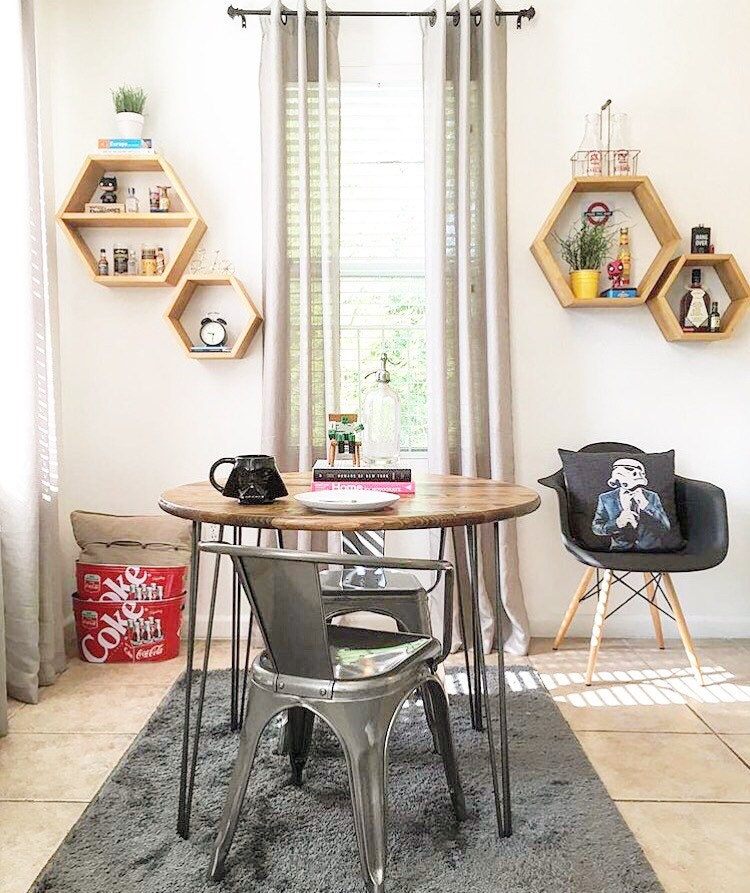 Industrial Chic Kitchen: 36 Round Industrial Chic Kitchen Table With Handcrafted