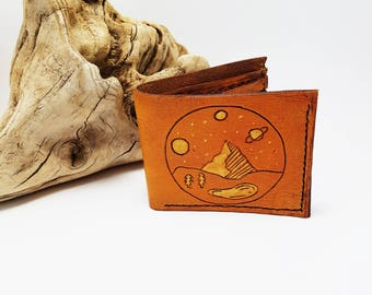 Mens Leather wallet / Mountain wallet / gift for him / Nature  / Space and Planets / Unique gift