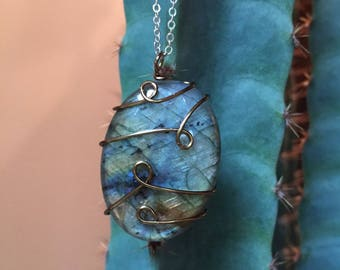 Hand Wire Wrapped Labradorite Pendant Necklace