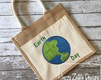 Earth Day appliqué embroidery design - earth appliqué design - world appliqué design - save the earth embroidery design