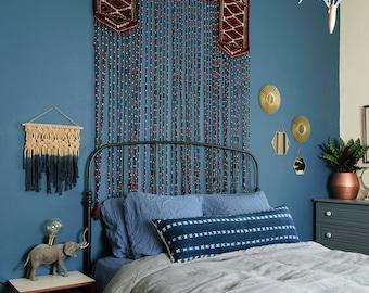 Lumbar Vintage Indigo Mudcloth Pillow, African Mudcloth Lumbar Pillow, Indigo Mudcloth pillow, Vintage Indigo Pillow, Indigo Fringe Pillow